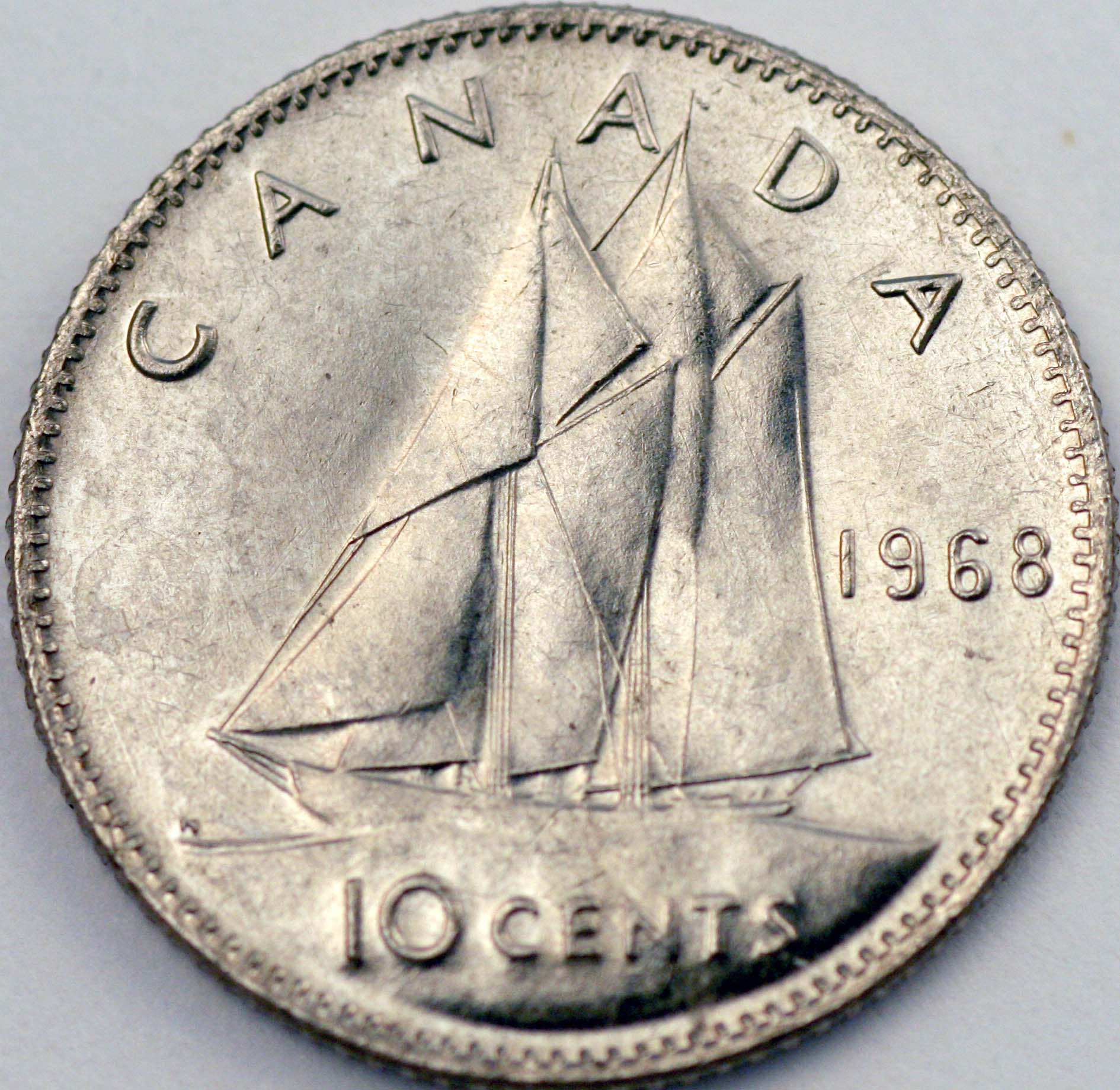 1969 Canadian Ten Cents Large Date Variety